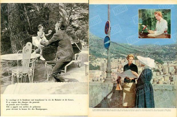 """""""Le mariage et le bonheur ont transformé la vie de Rainier et de Grace. Il se repose des charges du pouvoir en jouant avec Caroline. Elle a appris son métier de princesse pour devenir la bonne fée des Monégasques."""" - Paris Match n°513, 7 février 1959."""