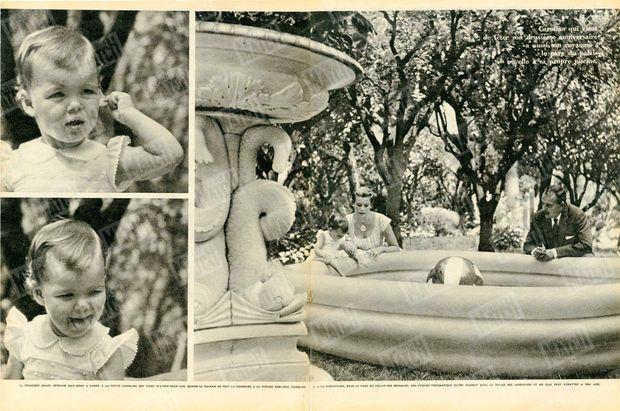 """""""La princesse Grace apprend elle-me à nager à la petite Caroline qui vient d'avoir deux ans. Quand sa maman ne peut la conduire la piscine publique, Caroline a, à sa disposition, dans le parc du palais des Grimaldi, une piscine pneumatique qu'on remplit avec le tuyau des jardiniers et où elle peut s'ébattre à son aise."""" - Paris Match n°513, 7 février 1959."""
