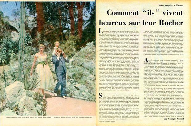 """""""L'image d'un mariage réussi. Chaque matin, après le petit dejeuner pris en commun pris en commun à 9h, Caroline fait sur les épaules de son papa le tour de son propriétaire."""" - Paris Match n°513, 7 février 1959."""