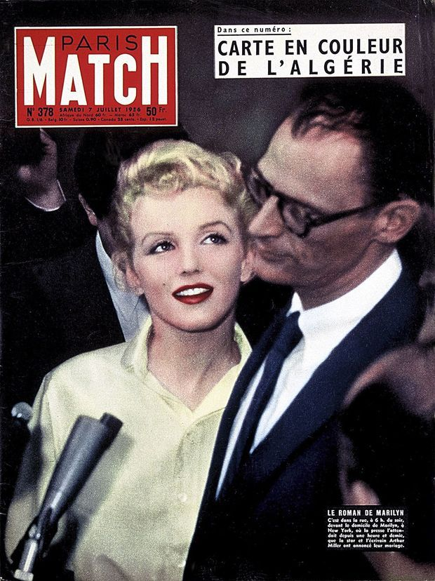 Le roman de Marilyn, couverture du Paris Match n°378, daté du 7 juillet 1956.
