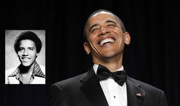 Montage de Barack Obama jeune et aujourd'hui-