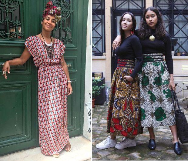 Mouki Clément et ses filles, Luana et Naomi, qui portent ses créations.