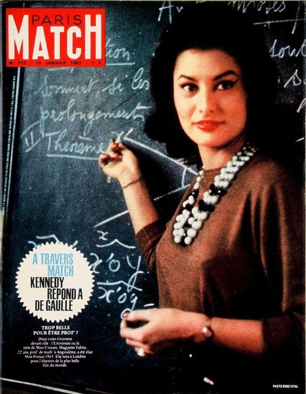 Muguette Fabris, Miss France 1963, en couverture de Paris Match numéro n°719, daté du 19 janvier 1963.