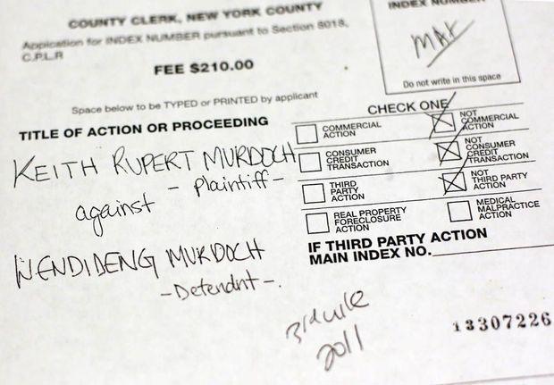 Le document prenant acte de l'instance de divorce des époux Murdoch, demandé par Rupert Murdoch le 13 juin 2013, à la Cour suprême de New York.