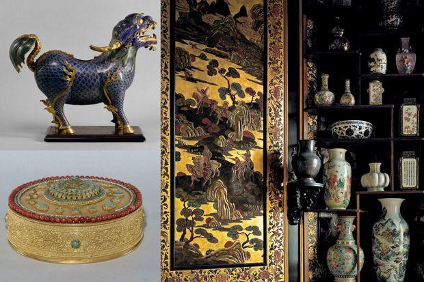 Chimère (Chine, règne de Qianlong 1736-1795) en haut à gauche - Cosmogramme, la rosace centrale symbolisant les étages du Mont Méru (Tibet) en bas à gauche - Détail du Musée chinois à droite
