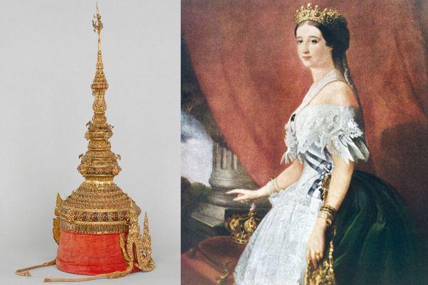 Réplique de la couronne des rois de Siam offerte à Napoléon III (Thaïlande, 19e siècle) - Portrait de l'impératrice Eugénie