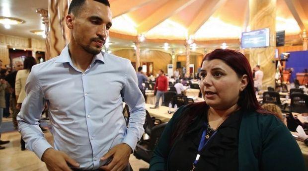 Nabil Boudi avec Berivan Khaled, coprésidente de l'Administration autonome du nord-est de la Syrie.