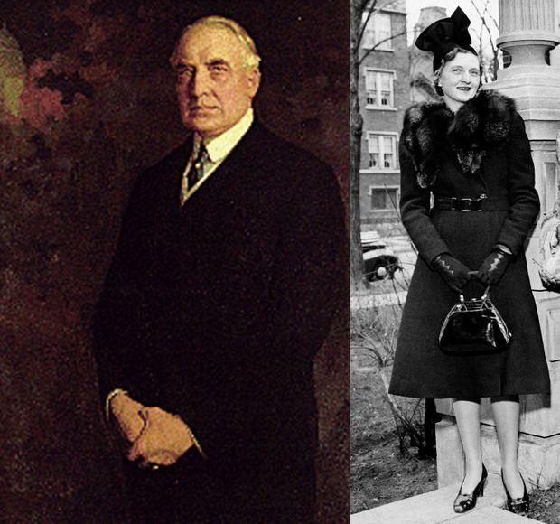 A gauche, le président américain Warren G. Harding en 1921. A droite, Nan Britton en 1939.