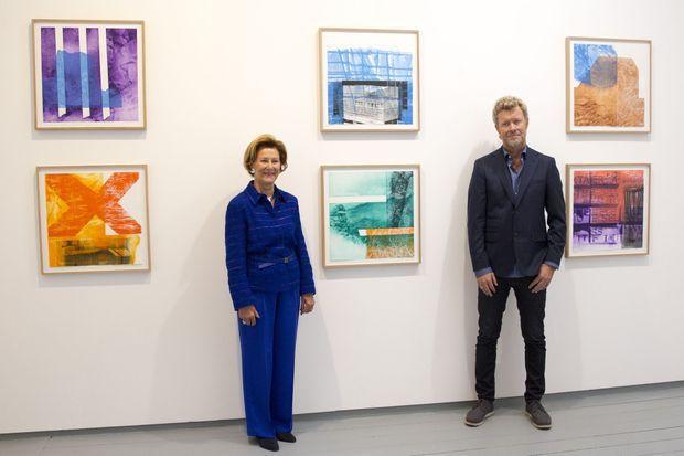 La reine Sonja de Norvège et Magne Furuholmen à Londres, le 27 septembre 2016