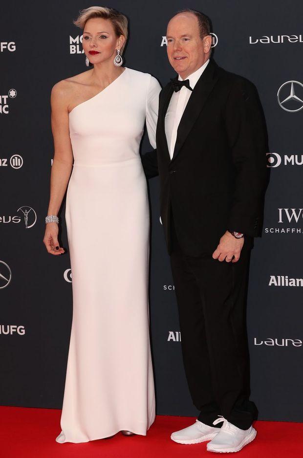 La princesse Charlène et le prince Albert II de Monaco à Monaco, le 27 février 2018
