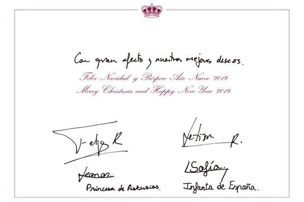 Le texte de la carte de voeux 2018 du roi Felipe VI et de la reine Letizia d'Espagne