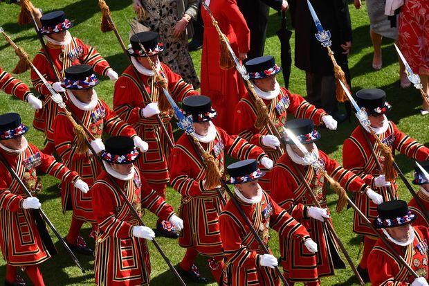 Les Yeomen of the Guard lors de la garden party de Buckingham Palace, le 21 mai 2019
