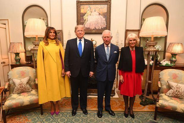 Le prince Charles et la duchesse de Cornouailles Camilla avec Donald et Melania Trump à Clarence House à Londres, le 3 décembre 2019