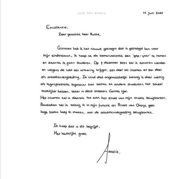 La lettre écrite par la princesse héritière Catharina-Amalia des Pays-Bas au Premier ministre Mark Rutte, dévoilée le 11 juin 2021