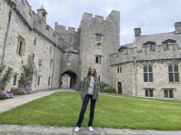 Princess Leonor of Spain at St. Donatus Castle home of the UWC Atlantic College of Wales on August 30, 2021