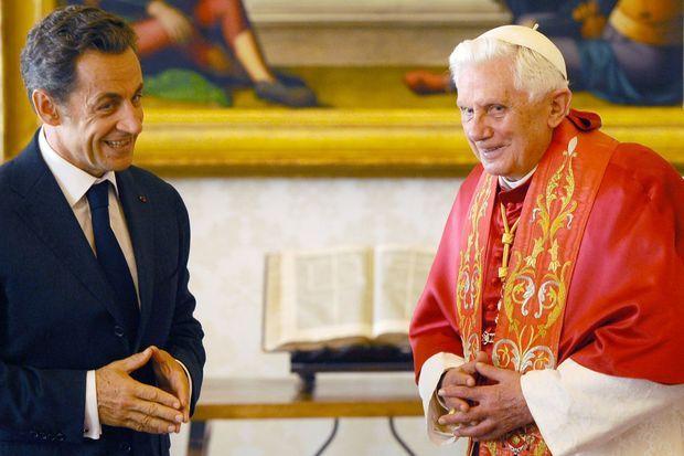 Nicolas Sarkozy et Benoit XVI en 2010