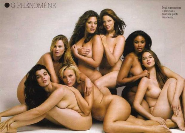 novembre 2009, dans «Glamour»: Crystal Renn, Lizzie Miller, Amy Citrons, Ashley Graham, Kate Dillon, Anansa Sims, et Jennie Runk-