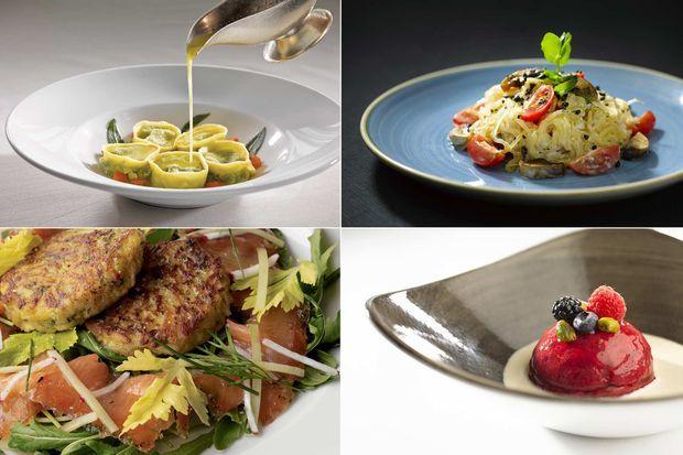 Exemples de plats et desserts servis à bord.