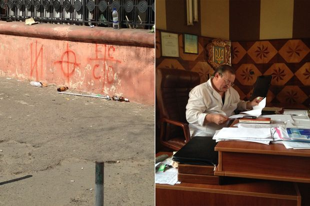 A gauche, graffitis nationalistes du mouvement Pravy Sektor, sur la Maison des Syndicats à Odessa. A droite, le docteur Andreï compulse une liste de victimes de Maison des Syndicats à Odessa, le samedi 2 mai au lendemain du drame.