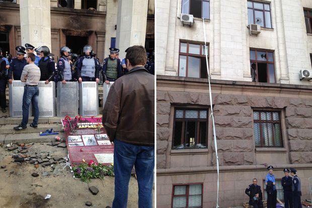 A gauche, la foule de pro-russes furieux s'amassant devant la Maison des Syndicats à Odessa, le samedi 2 mai au lendemain du drame. A droite, les rideaux noués et les cordages dont se sont servis certains pour échapper au brasier.
