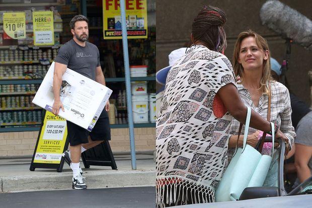 Pendant que Ben Affleck s'occupe des enfants, Jennifer Garner poursuit le tournage de son dernier film. Ici à Atlanta le 26 juillet.