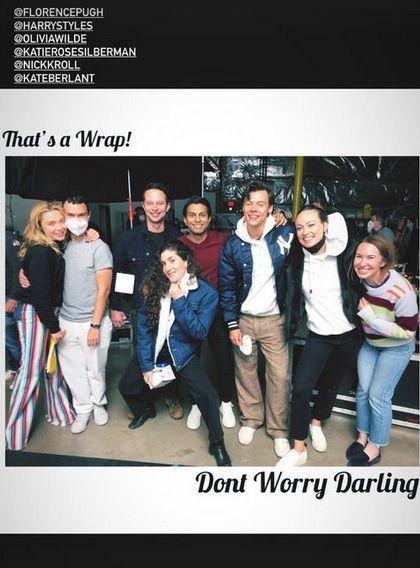 """Fin de tournage pour l'équipe du film """"Don't Worry Darling"""", dirigé par Olivia Wilde, février 2021"""