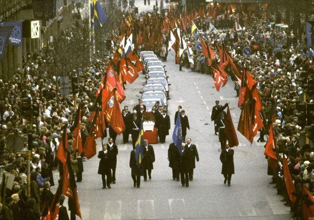 Les funérailles d'Olof Palme à Stockholm, le 15 mars 1986.