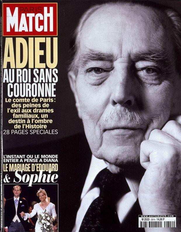 La mort Henri d'Orléans, père, comte de Paris, en couverture de Paris Match n°2614, daté du 1er juillet 1999.