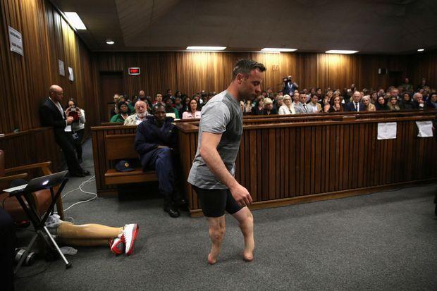 Oscar Pistorius au tribunal de Pretoria, sans ses prothèses.