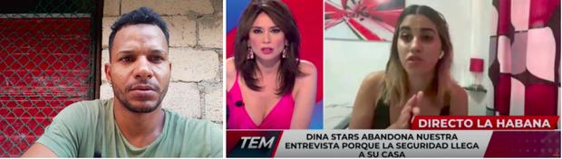 À g.: le rappeur Maykel Osorbo, l'un des auteurs de «La patrie et la vie» devenu l'hymne des manifestants. Il est aujourd'hui en prison. A droite: «Dina Stars abandonne notre entretien car la sécurité d'État arrive chez elle», sous-titre la télévision espagnole en direct avec la youtubeuse cubaine, le 13 juillet. Elle est depuis assignée à résidence.
