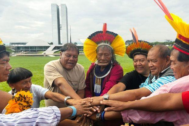 L'alliance des gardiens de mère nature : de gauche à droite, Caciques Pirakuman Yawalapiti, Txicao, Aritana Yawalapiti, Raoni Metuktire, Davi Yanomami, Afukaka Kuikuru et Tabata Kuikuru. Cette alliance sera officialisée lors de la COP 21 et permettra de créer des liens durables entre des peuples traditionnels éparpillés aux quatre coins du globe et confrontés aux mêmes défis climatiques.
