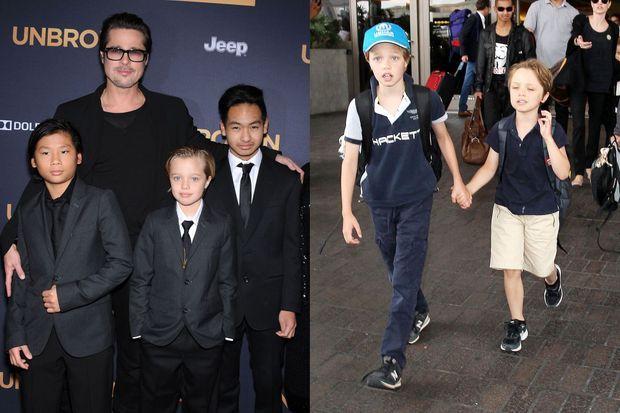À droite : Shiloh avec Pax, Maddox et Brad Pitt en décembre 2014. À gauche : Shiloh avec son frère Knox à l'aéroport de Los Angeles en juillet dernier.