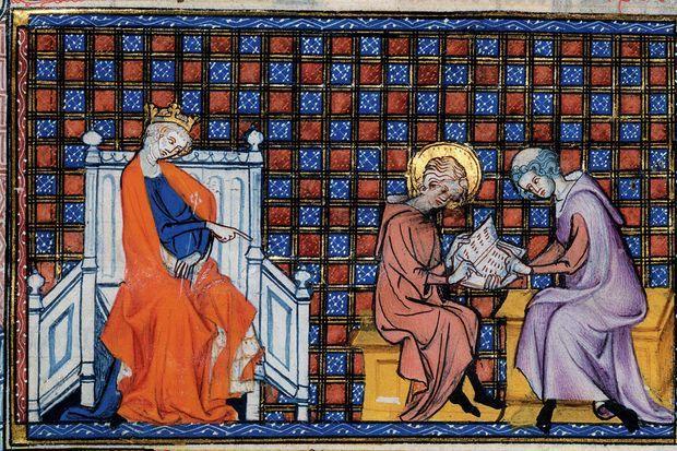 IsabeLouis IX apprenant à lire sous le regard attentif de sa mère Blanche de Castille. Guillaume de Saint-Pathus. Vie et miracles de Saint Louis. Paris. BnF. Vers 1330-13340