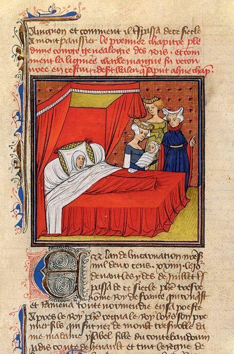 Isabelle de Hainaut donne naissance à Louis VIII. Grandes Chroniques de France. Paris. BnF. XIVe XVe siècles