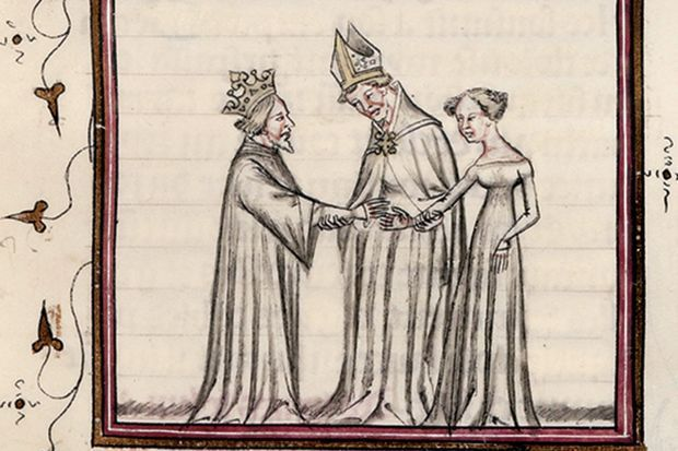 Mariage de Philippe Auguste avec Ingeburge. Vincent de Beauvais. Miroir historial. Paris. BnF. XIVe siècle