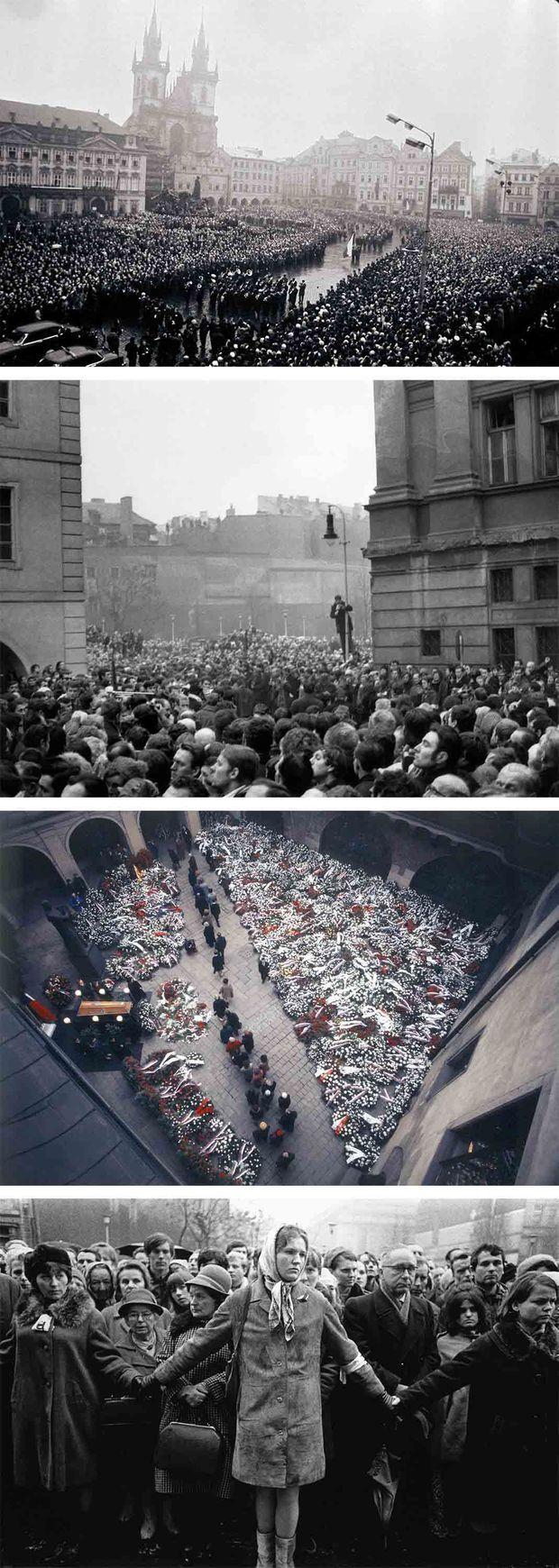 """""""Sur la place Saint-Wenceslas, là même ou l'étudiant Jan Palach s'est offert en holocauste, ils sont plus de cent vingt mille. Aucune pancarte, aucune banderole. Un drapeau noir, symbole de deuil, et un drapeau de la République. Autour des drapeaux, universitaires, étudiants, ouvriers communient dans le même silence. Depuis ce jeudi 15 heures où Jan Pàlach a affronté le martyre de la liberté, la Tchécoslovaquie tout entière est emportée par un déferlement d'émotion si violent que rien n'y peut résister, et surtout pas le pouvoir politique. Dans chaque ville, dans chaque village, par- tout des drapeaux en deuil, par- tout des autels dressés à la mémoire du jeune héros. Tous les dirigeants communistes tchèques se sont rangés derrière lui. Le général Svoboda, président de la République, tout en marquant qu'il ne pouvait approuver le sacrifice du jeune étudiant, affirme : « Je suis un soldat et, en tant que tel, je suis fier de cet acte d'héroïsme. » S'il n'est pas lui-même sur place au milieu des Pragois affligés, son drapeau personnel est là qui le représente. Dès la soirée de jeudi, la place Saint-Wenceslas est devenue un lieu de pèlerinage ; jour et nuit, des milliers d'hommes et de femmes viennent s'y recueillir ; chacun y fait son examen de conscience. « Et moi , ai-je tout essayé, et moi, n'ai-je pas déçu ?» Un peuple entier qui sombrait dans la résignation soudain s'est réveillé, dans une ambiance si tendue et si dramatique qu'à chaque instant on sent que tout peut arriver."""" - Paris Match n°1030, 1er février 1969"""