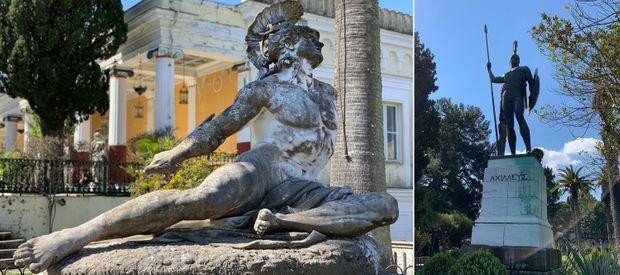 A gauche, Achille représenté selon les idées de Sissi. A droite, la vision de Guillaume II.