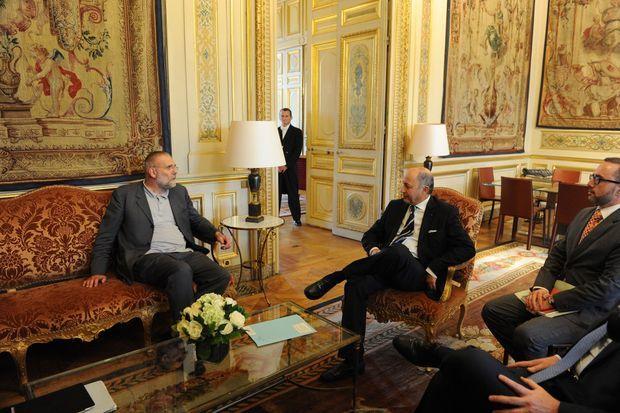 Paolo Dall'Oglio et Laurent Fabius.