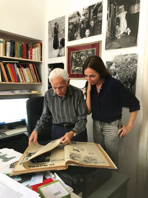 Paolo Di Paolo, 95 ans, et sa fille, Silvia, le 16 juillet, à Rome.