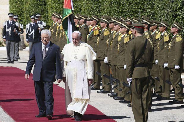 Avec le président palestinien, Mahmoud Abbas, à Bethléem