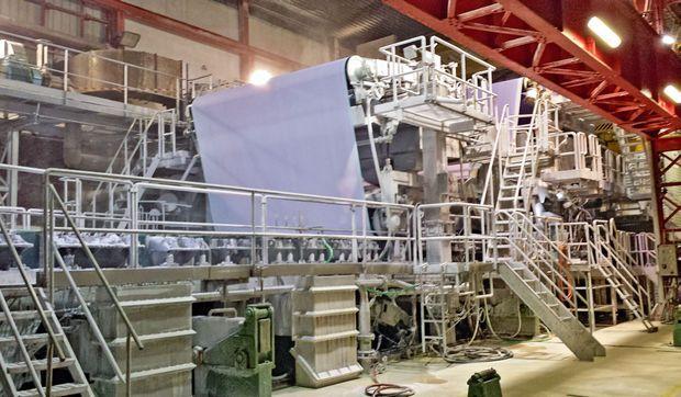 Surnommée « la Marie », la machine à papier mesure 200 mètres de longueur pour 3,95 mètres de largeur.