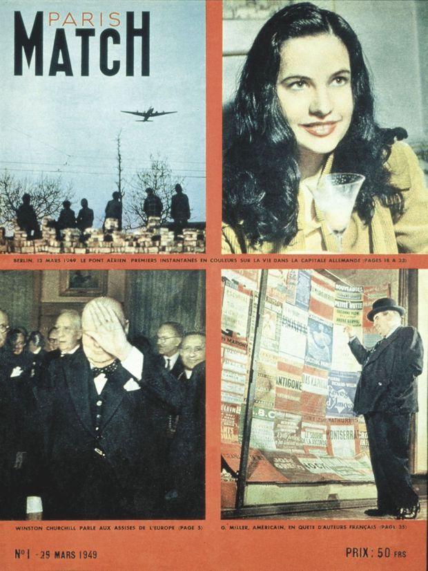 La couverture du tout premier numéro de Paris Match, daté du 25 mars 1949.