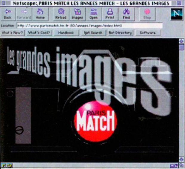 Une des premières pages web de Paris Match, le 23 mai 1996.