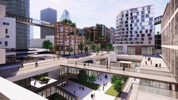 À 30 mètres de hauteur, une promenade de toiture en toiture dominera la nouvelle avenue.