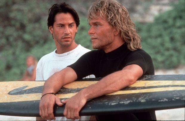 Patrick Swayze avec Keanu Reeves dans le film «Point Break», en 1991
