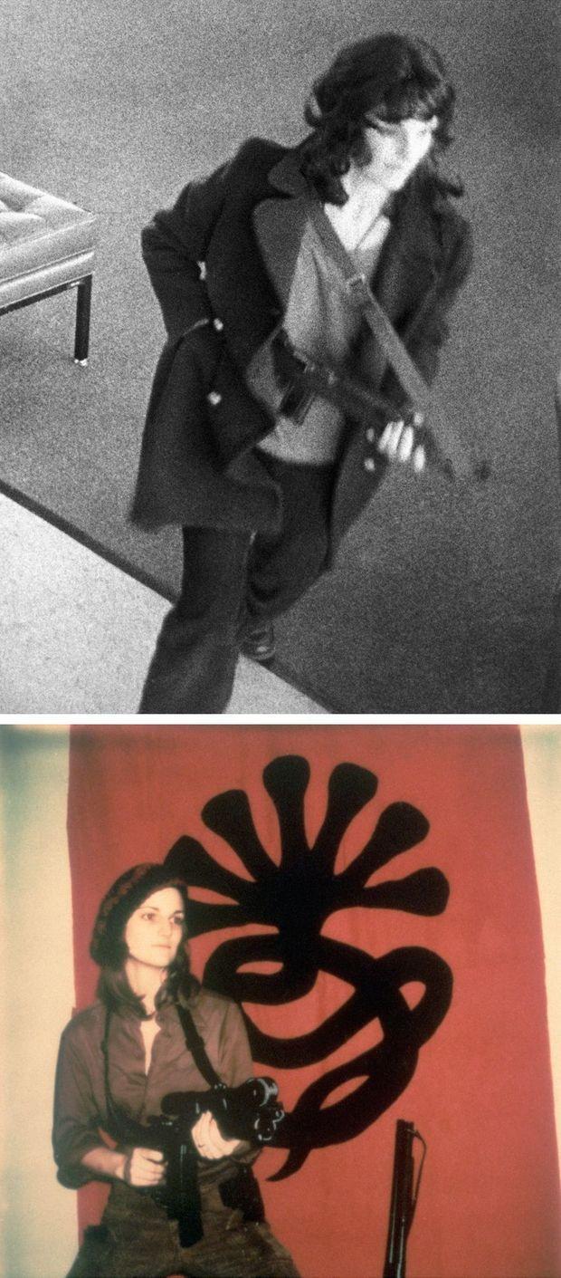 """La photo d'une femme ressemblant à Patricia Hearst, arme à la main, prise par la caméra de surveillance de la Banque Hibernia de San Francisco, braquée le 15 avril 1974. Au-dessous, une photo de """"Tania"""" Hearst, diffusée par la Symbionese Liberation Army en 1974."""