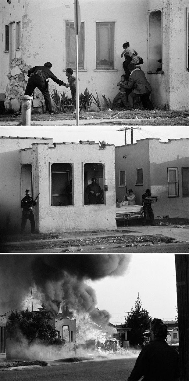 Photos de l'assaut de la police contre la maison de la Symbionese Liberation Army, dans le quartier d'Inglewood à Los Angeles, le 17 mai 1974. Le siège a duré deux heures, avant que la maison ne prenne feu. La fusillade fut l'une des plus violentes de l'histoire de la police américaine, avec quelque 9000 coups de feu échangés. Six membres de la SLA ont été tués, les forces de l'ordre ne comptant que des blessés dans leurs rangs.