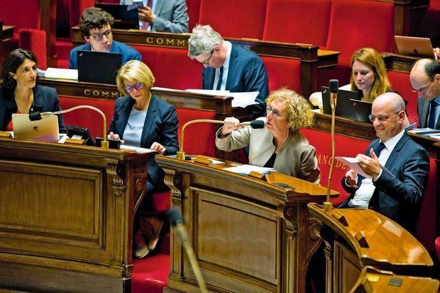 Dans l'hémicycle avec (à dr.) Jean-Michel Blanquer, ministre de l'Education nationale. Le volet sur l'apprentissage du texte de loi relève de leurs deux ministères.