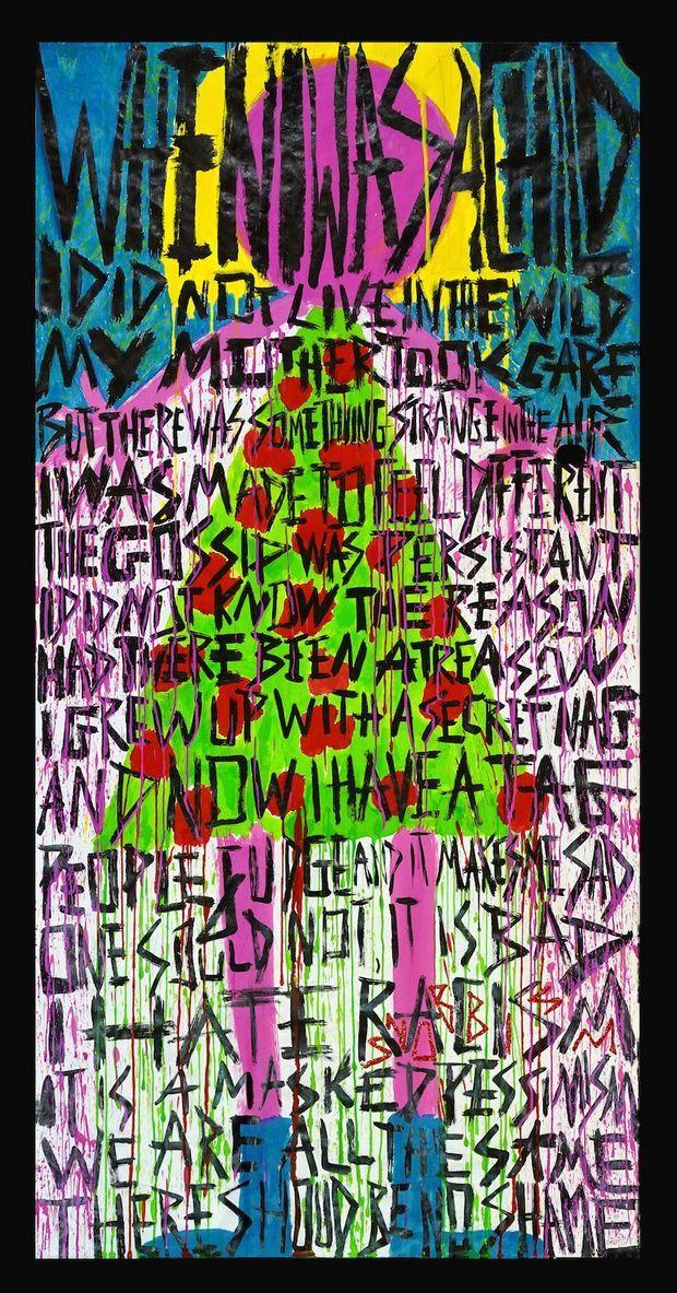 PEP Poetry (« Politically Exposed Poems », allusion au statut de « dirty PEP » (Politically Exposed Person ») imposé à Delphine par une liste bancaire World Check. TAG -2015 – 97 x 200 cm.