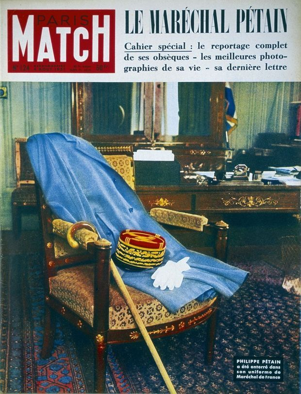 La couverture impossible pour la mort de Pétain, le 23 juillet 1951. Même sans le visage du maréchal, le numéro fait un tabac.
